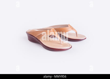 shoe or Brown colour casual woman shoes on a background - Stock Photo