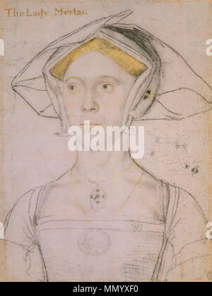 . English: Portrait of Joan, Lady Meutas. Black and coloured chalks with wash on pink-primed paper, 28.3 × 21.2 cm, Royal Collection, Windsor Castle. Joan or Jane Astley (d. 1577) was the sister of London mercer John Astley. She married the courtier Peter Meutas, who, like Holbein, was involved in Henry VIII's embassies to scout for potential brides. On the right of the drawing is a sketch of interlocked hands wearing rings. The design on Lady Meutas's oval medallion is similar to one of Holbein's designs for a Mary Magdalen medallion.  . circa 1536-43.   Hans Holbein (1497/1498–1543)   A - Stock Photo