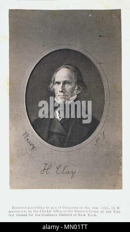 . English: A photograph of the late Senator en:Henry Clay. The image was obviously taken long before 1861, as Clay died in 1852.  . Copyrighted in 1861. Image created by U.S. Senate, original photograph by Mathew B. Brady. Henry Clay 1861 by Mathew B Brady - Stock Photo