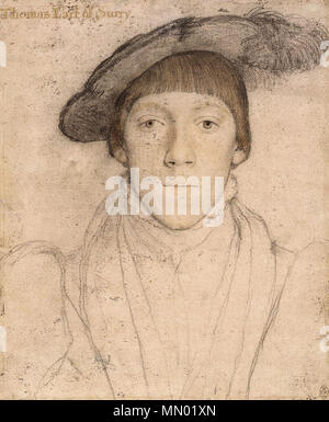 . English: Portrait of Henry Howard, Earl of Surrey. Black and coloured chalks, pen and ink, watercolour on pink-primed paper, 25.1 × 20.1 cm, Royal Collection, Windsor Castle. This is a drawing of Henry Howard, Earl of Surrey (1517–47). The inscription 'Thomas Earl of Surry, added later, is wrong. Howard was a poet and art lover who enjoyed sitting for portraits: another drawing of him by Holbein survives, as well as an oil portrait. Howard was executed in 1547, convicted of inappropriately using the Royal Arms of England. The arms are seen in a portrait of him by William Scrots.  . c. 1533.  - Stock Photo