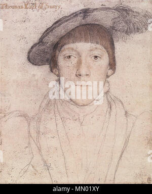 . English: Portrait of Henry Howard, Earl of Surrey. Black and coloured chalks, pen and ink, watercolour on pink-primed paper, 25.1 × 20.1 cm, Royal Collection, Windsor Castle. This is a drawing of Henry Howard, Earl of Surrey (1517–47). The inscription 'Thomas Earl of Surry, added later, is wrong. Howard was a poet and art lover who enjoyed sitting for portraits: another drawing of him by Holbein survives, as well as an oil portrait. Howard was executed in 1547, convicted of inappropriately using the Royal Arms of England. The arms are seen in a portrait of him by William Scrots.  . circa 153 - Stock Photo