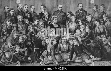 . Family portrait of Queen Victoria and her relatives. Victoria is seen seated at center, with her granddaughter Princess Marie Louise of Schleswig-Holstein leaning on her lap. Standing behind Victoria, is her son, Prince Albert of Wales. Victoria's daughter-in-law, Alexandra of Denmark, sits to their left (at centre right). Frederick, Imperial Crown Prince of Germany and Prussia, sits at far left in military uniform. The other children, in-laws, and grandchildren of Queen Victoria surround Her Majesty. See File:Queen Victoria & Royal Family (identification key).svg for an identification key o - Stock Photo