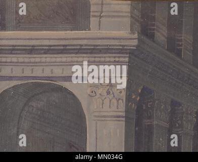 Heures Louis XII Présentation au Temple (détail) - Bâtiment aux pigments de bismuth - Stock Photo