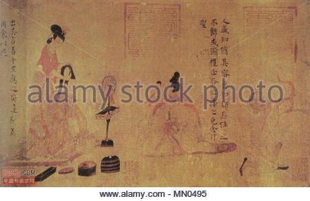 .  English: 'Adorning Oneself', detail from 'Admonitions of the Instructress to the Palace Ladies' (女史箴图) Handscroll, ink and color on silk. 24.8 x 148.2 cm. See Barnhart, R. M. et al. (1997). Three thousand years of Chinese painting. New Haven, Yale University Press. ISBN 0-300-07013-6 pages 50-51. Français: Conseils de la monitrice aux dames du Palais. Détail (Se parer) d'un rouleau, copie d'époque Tang (VIIIe siècle) d'après une peinture perdue de Gu Khaizhi (vers 345-406), encre et couleurs sur soie; H. 25cm. British Museum, Londres  . between circa 344 and circa 405. Histoire de femme Gu - Stock Photo