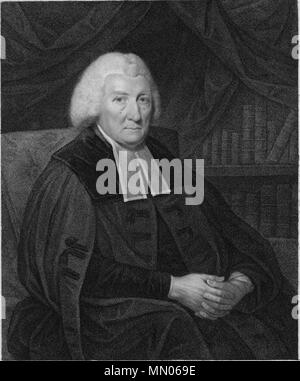 . English: Rev Prof Hugh Blair FRSE (7 April 1718 – 27 December 1800) was a Scottish minister of religion, author and rhetorician, considered one of the first great theorists of written discourse.  . 1802. Francesco Bartolozzi (1727-1815), Engraver, after Sir Henry Raeburn (1756-1823), Portrait painter Hugh Blair clergyman 001 - Stock Photo
