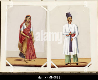 35.176H Indian - Leaf from Bound Collection of 20 Miniatures Depicting Village Life - Walters 35176H - Stock Photo