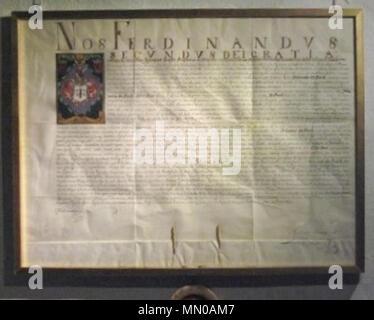 . Deutsch: Adelsbrief von Ferdinand II. (römisch-deutscher Kaiser 1619-1637) für Johann [von] Bach. Ausgestellt 1624, Pergamenturkunde mit farbiger Wappendarstellung.  . 1624. Anonymous Adelsdiplom - Bach 1624 - Stock Photo