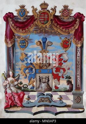 . Deutsch: Wappen aus dem Adelsdiplom von Leopold II. (römisch-deutscher Kaiser 1790-1792) als König von Ungarn für Georg Hoffmann, ausgestellt am 2. Juni 1791, mit eigenhändiger Unterschrift des Kaisers.  . 1791. Anonymous Adelsdiplom - Hoffmann 1791 - Wappen - Stock Photo