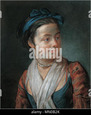 Portrait of a Young Girl. 1777. Jean-Baptiste Simeon Chardin - Portrait of a Young Girl - Stock Photo