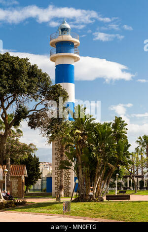 Lighthouse along the promenade at Torre del Mar on the Costa Del Sol, Andalucia, Spain - Stock Photo