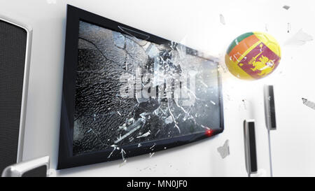 Soccer ball with the flag of Sri Lanka flying through a shattering tv screen.(3D rendering series) - Stock Photo