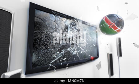 Soccer ball with the flag of Kenya flying through a shattering tv screen.(3D rendering series) - Stock Photo