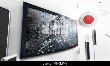 Soccer ball with the flag of Japan flying through a shattering tv screen.(3D rendering series) - Stock Photo