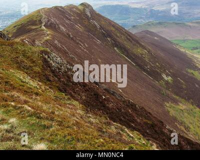 Ridge route to Causey Pike from Scar Crags, Lake District National Park, Cumbria, United Kingdom - Stock Photo