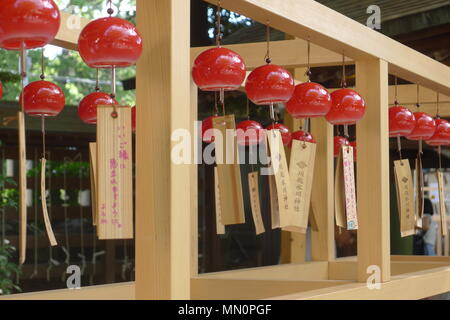 Red Wind Chimes in Kawagoe, Japan - Stock Photo
