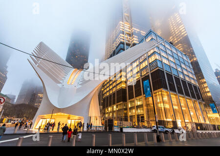 New York, US - March 29, 2018:  The famous Westfield shopping mall at world trade center in New York City - Stock Photo