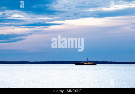 large yacht in Peconic Bay off long beach, sag harbor, ny - Stock Photo