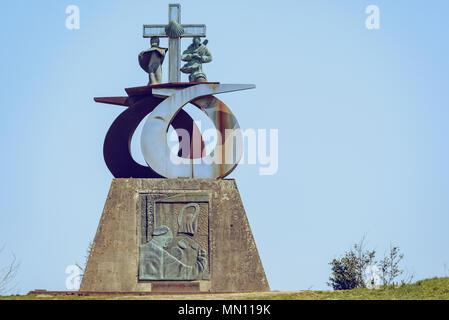 Hill of joy monument in saint james way. Monte do gozo, camino de santiago, galicia, santiago de compostela, Spain - Stock Photo