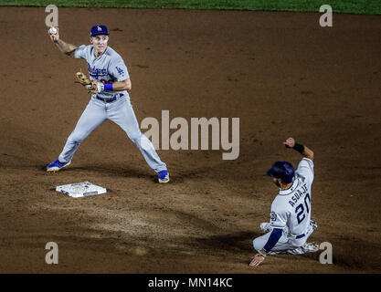 Chase Utley. And Carlos Asuaje .  Baseball action during the Los Angeles Dodgers game against San Diego Padres, the second game of the Major League Baseball Series in Mexico, held at the Sultans Stadium in Monterrey, Mexico on Saturday, May 5, 2018 . (Photo: Luis Gutierrez)  Acciones del partido de beisbol, durante el encuentro Dodgers de Los Angeles contra Padres de San Diego, segundo juego de la Serie en Mexico de las Ligas Mayores del Beisbol, realizado en el estadio de los Sultanes de Monterrey, Mexico el sabado 5 de Mayo 2018. (Photo: Luis Gutierrez) - Stock Photo