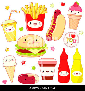 Set of cute fast food icon in kawaii style with smiling face and pink cheeks. Sticker with inscription I love you. Hamburger, donut, cups soda and cof - Stock Photo