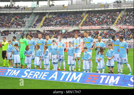 Torino, Italy. 13th May, 2018. Team SPAL during the Serie A football match between Torino FC and SPAL at Stadio Grande Torino on 13th May, 2018 in Turin, Italy. Credit: FABIO PETROSINO/Alamy Live News - Stock Photo