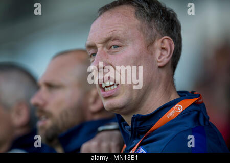 Pirelli Stadium, Burton-upon-Trent, UK. 13th May, 2018. UEFA Under 17 European Championships, quarter final, Norway U17s versus England U17s; England Coach Steven Cooper singing the national anthem before the match Credit: Action Plus Sports/Alamy Live News - Stock Photo