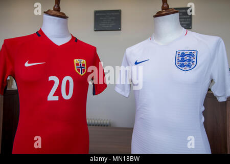 Pirelli Stadium, Burton-upon-Trent, UK. 13th May, 2018. UEFA Under 17 European Championships, quarter final, Norway U17s versus England U17s; The teams national football shirts are displayed in the main foyer of the stadium Credit: Action Plus Sports/Alamy Live News - Stock Photo