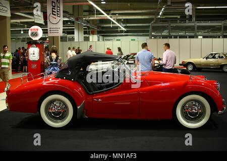 Poland, Nadarzyn, 13nd May 2018: Oldtimer Show hosts at PTAK Expo center, showing famous international brands and nostalgic Polish cars. ©Jake Ratz/Alamy Live News - Stock Photo