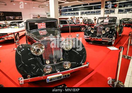 Warsaw, Poland. 13th May, 2018. Vintage cars are seen during the 2018 Warsaw Oldtimer Show in Nadarzyn, southwest of Warsaw, Poland, on May 13, 2018. The show was held here from May 12 to May 13, attracting about 300 exhibitors to display almost 2,000 vintage cars. Credit: Chen Xu/Xinhua/Alamy Live News - Stock Photo