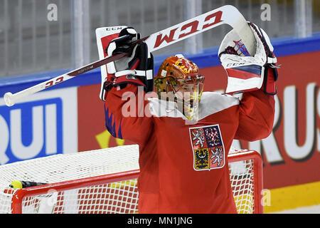 Kodan, Denmark. 13th May, 2018. DAVID RITTICH (CZE) celebrates Czech win after the Ice Hockey World Championships match France vs Czech Republic, in Copenhagen, Denmark, May 13, 2018. Credit: Ondrej Deml/CTK Photo/Alamy Live News - Stock Photo