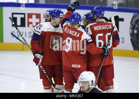 Kodan, Denmark. 13th May, 2018. L-R ROMAN HORAK, FILIP CHYTIL, DAVID SKLENICKA and TOMAS PLEKANEC (all CZE) celebrate 5th goal during the Ice Hockey World Championships match France vs Czech Republic, in Copenhagen, Denmark, May 13, 2018. Credit: Ondrej Deml/CTK Photo/Alamy Live News - Stock Photo
