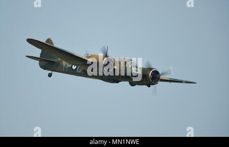 Bristol Blenheim Mk.I (G-BPIV) flying at Shuttleworth, Old Warden - Stock Photo