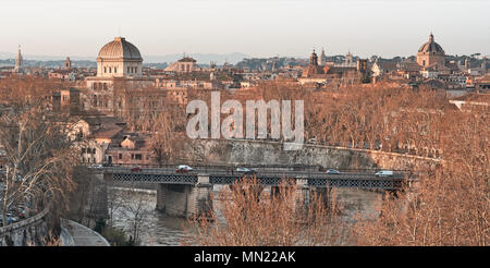 View of Rome roofs: jewish synagogue, Tiber island and Tiber river and church domes - Stock Photo