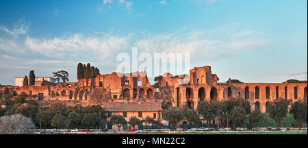 Rome, Domus Severiana and Temple of Apollo Palatine seen from the Circus Maximus - Stock Photo