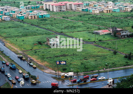 Managua, Nicaragua, June 1986;The city centre was destroyed in an earthquake in 1972. Some new housing has been built. - Stock Photo