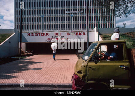 Managua, Nicaragua, June 1986; The entrance to the Ministry of the Interior - Stock Photo