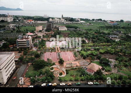 Managua, Nicaragua, June 1986; The centre of the city is now a park. The city centre was destroyed in an earthquake in 1972. - Stock Photo