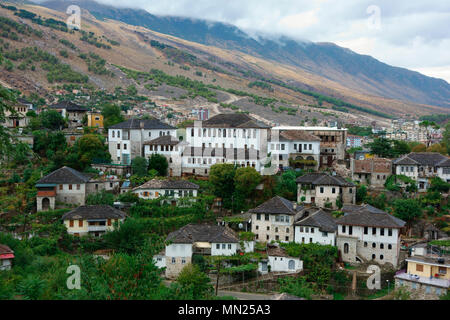 Old Ottoman houses in Gjirokaster (Gjirokastra), Albania - Stock Photo