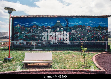 Managua, Nicaragua, June 1986; A mural on the wall of a cafe in the Luis A Velazques park in central Managua. - Stock Photo