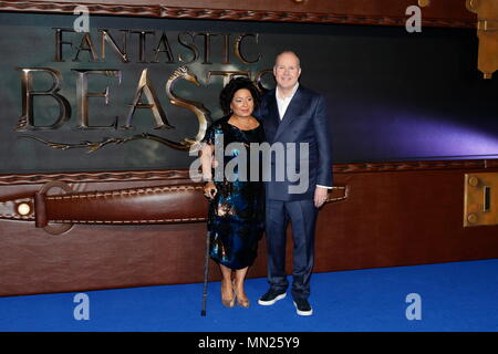 LONDON, ENGLAND - NOVEMBER 15: Yvonne Walcott and David Yates attends the European premiere of 'Fantastic Beasts And Where To Find Them' at Odeon Leicester Square on November 15, 2016 in London, England. - Stock Photo