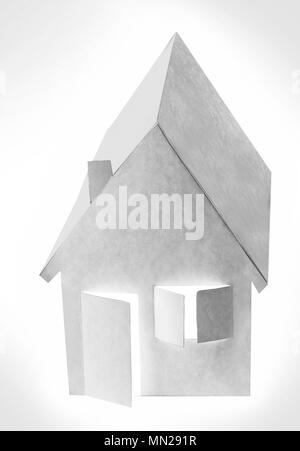 Paper house on a white background with backlight on the window and doors - Stock Photo