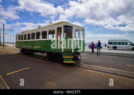Manx Electric Railway car number 21 arrives at the Douglas terminus from Ramsey - Stock Photo