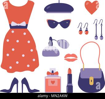 French Style Clothes and Accessories Set - Stock Photo