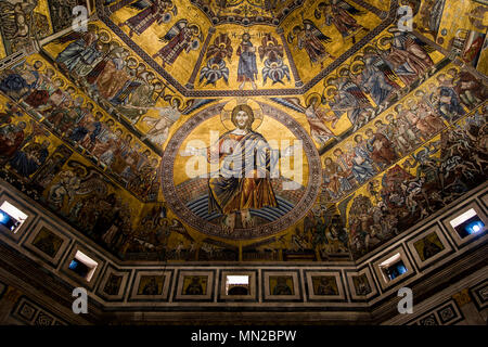 Enthroned Christ, by Coppo di Marcovaldo, 13th century mosaics, cupola ceiling, Baptistery, Florence, UNESCO World Heritage Site. Tuscany, Italy, Euro - Stock Photo