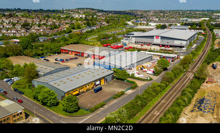 Aerial view of commerical units on Norman Close, Strood, Kent, UK - Stock Photo