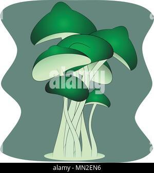 magic green mushrooms vector - Stock Photo