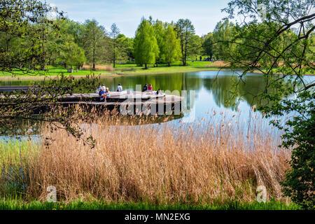 Britzer Garten, Neukölln, Berlin, Germany. 2018. People relaxing on wooden deck of island in Lake in Spring - Stock Photo