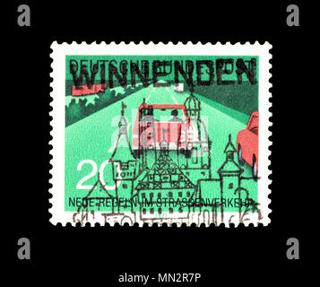 Cancelled postage stamp printed by Germany, that shows Cars on highway, circa 1971. - Stock Photo