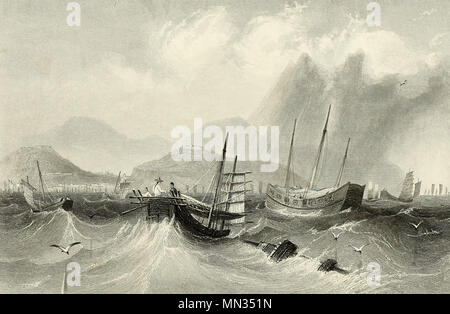 Macao from the Sea, circa 1850 - Stock Photo