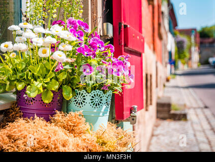 Scenic summer in the Old Town town in Rothenburg ob der Tauber, Bavaria, Germany - Stock Photo